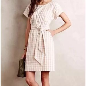 Anthropologie Beige and White Checkered Dress